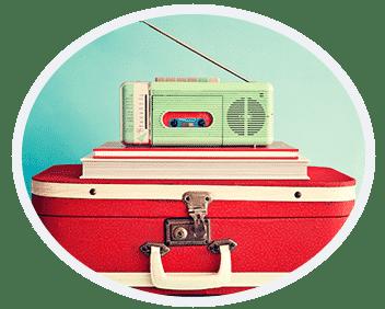 radio met koffer